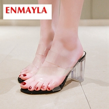 ENMAYLA 2019 New Arrival  Women Summer Fashion Super High Slippers PU Outside Solid Shoes Size 34-43 LY2330