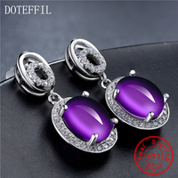 925 Silver Purple Crystal Ear Studs Female Luxury Charm 100% Sterling Silver Stud Earrings Fashion Women's Jewelry