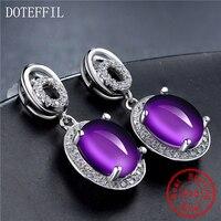925 Silver Purple Crystal Ear Studs Female Luxury Charm 100% Sterling Silver Stud Earrings Fashion Women's Jewelry