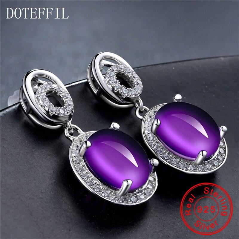 925 argent violet cristal boucles d'oreilles femme luxe charme 100% en argent Sterling boucles d'oreilles mode femmes bijoux