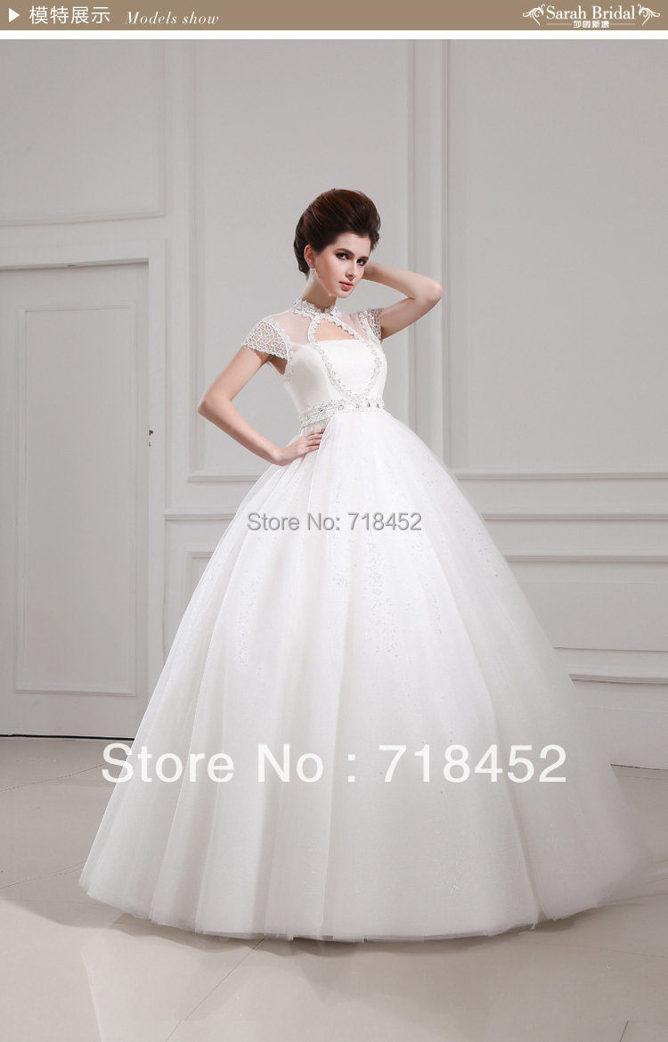 New Arrival Cap Sleeve Wedding Dress High Neck Keyhole Back Princess Ball Gown Tbw014: Key Hole Wedding Dress At Reisefeber.org