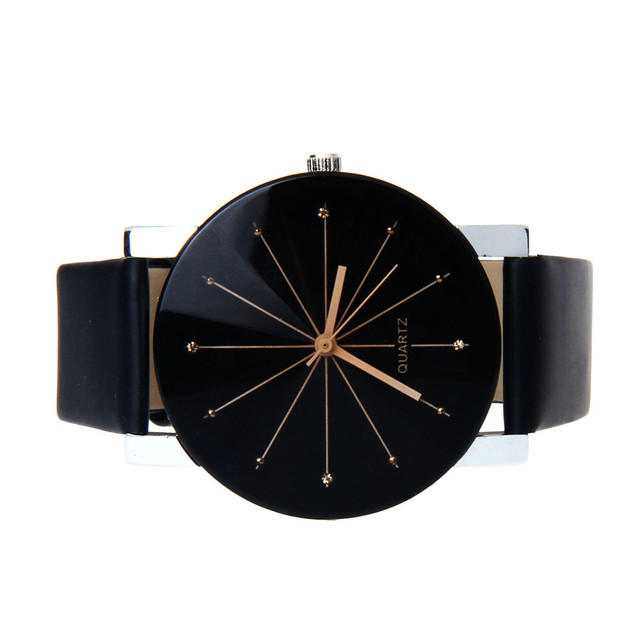 Women Men Quartz Dial Clock Leather Wrist Watch Round Case Black ladies relogio feminino zegarek damski clock 2018 saat bracelet
