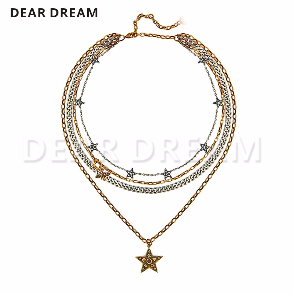 Fashion Retro Multilayer Stars Bee Pendant Necklace Five-Point Star Jewelry Fashion Accessories For Lady Girl Gift Fashion Retro Multilayer Stars Bee Pendant Necklace Five-Point Star Jewelry Fashion Accessories For Lady Girl Gift