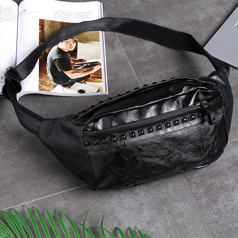New Men's Waist Bag Fashion Rivet Man Fanny Pack High Quality Soft Leather Chest Bags Waterpoor PU Shoulder Bags Travel Boys Bag