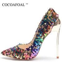 COCOAFOAL/женские туфли на высоком каблуке; пикантные туфли на День Святого Валентина; женские свадебные туфли лодочки с острым носком; большие