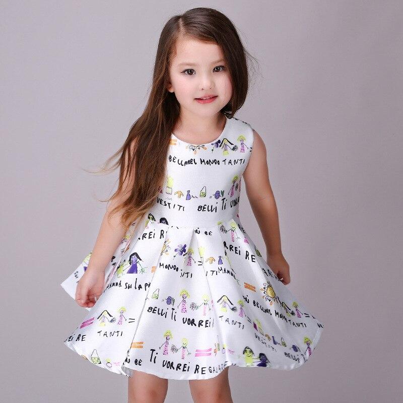 857da9362 Kids Dresses for Girls 2016 Fashion Sleeveless Big Swing Print ...