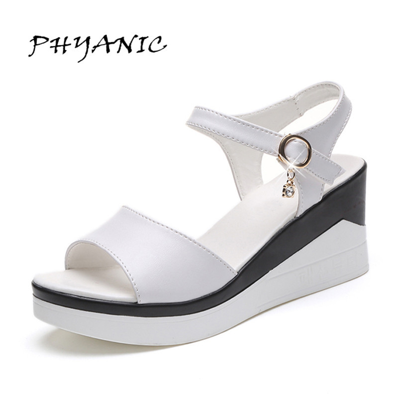 PHYANIC Women Sandals Fashion 2017 Summer Wedge Shoes Woman Platform Wedge Super High Heel Elegant Outdoor White Shoes PHY5182 phyanic 2017 gladiator sandals gold silver shoes woman summer platform wedges glitters creepers casual women shoes phy3323