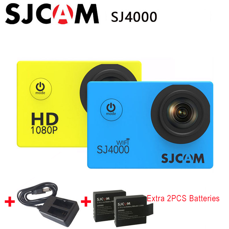 SJCAM SJ4000 & SJ4000 WIFI Action Camera 1080P HD 30M Waterproof Video Sports DV SJ Cam 4000 +Extra 2pcs battery+Dual Charger
