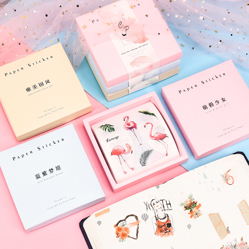 50pcs/set Japanese Diary Flamingo Unicorn Cute Stickers Ocean Girl Morandi Scrapbooking Stationery Flakes Teacher Supplies