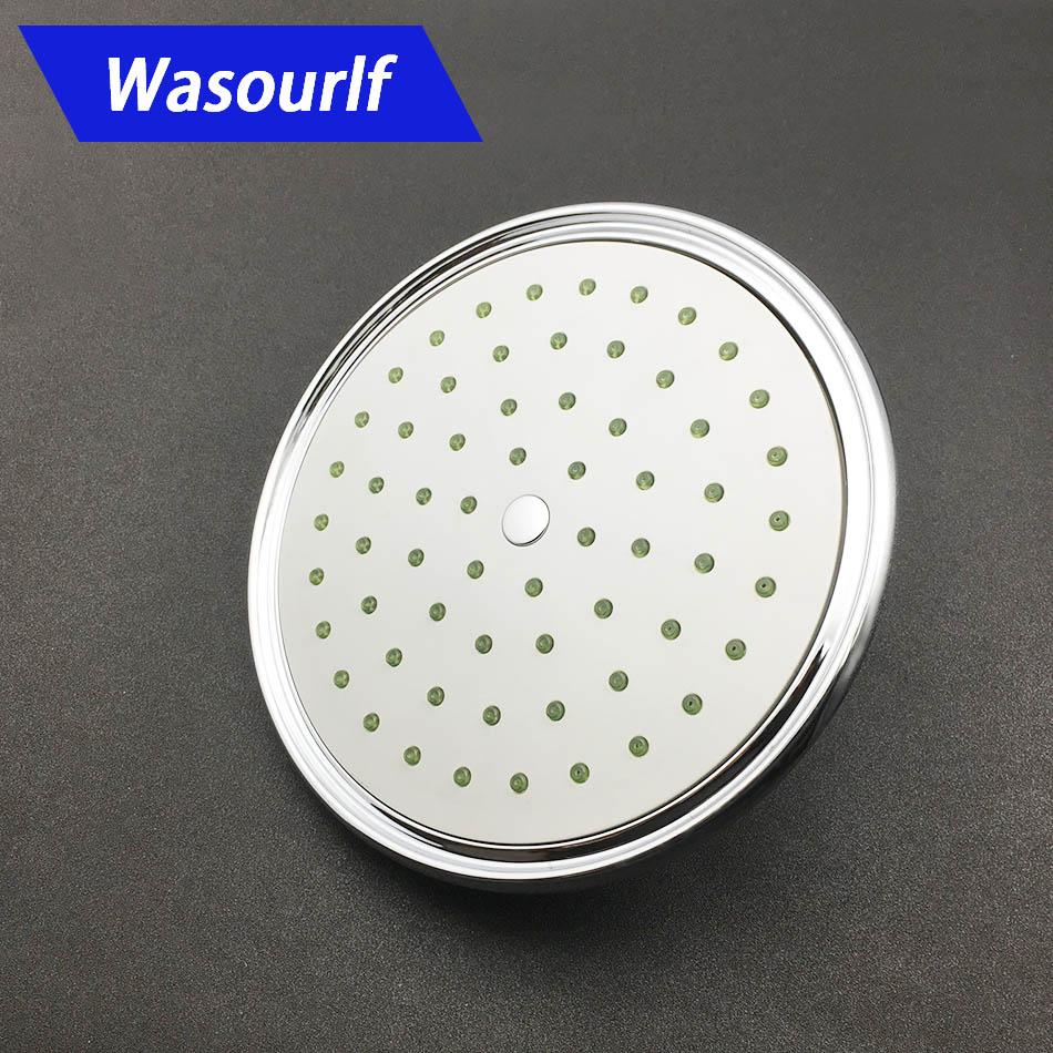 Купить с кэшбэком WASOURLF rain shower head wall mounted guarantee 8 inch pressurized water saving plastic chrome shower spa high quality