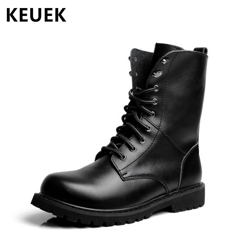 New Arrival Genuine leather Mid-Calf Martin boots Autumn Men Motorcycle boots Winter Outdoor shoes Lace-Up Military boots 02A autumn winter girls princess long boots children motorcycle boots lace up genuine leather mid calf snow boots 03b