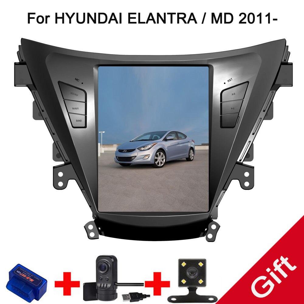 10.4 Tesla Type Android 7.1/6.0 Fit HYUNDAI ELANTRA/MD 2011 2012 2013-Lecteur DVD de Voiture navigation GPS Radio