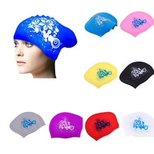 Adjustable Long Hair Swimming Cap Silicone Universal Water Sports Sportswear Accessories 9 Colors