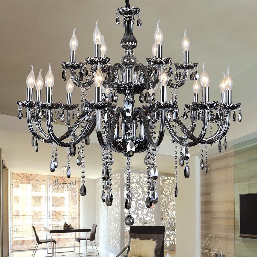 Fumée gris cristal lustre moderne salon lampe Restaurant led lustre éclairage classique bougie cristal lustres