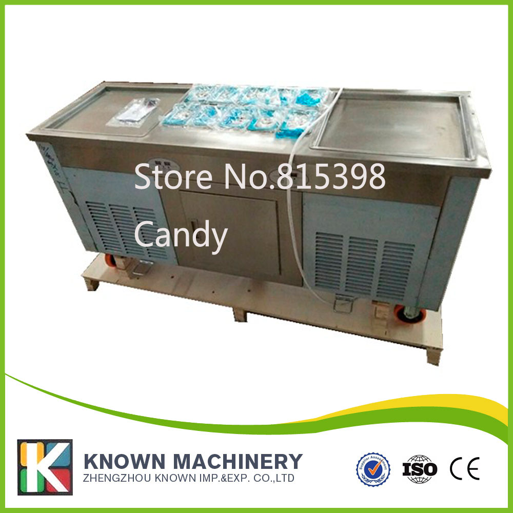 free shipping by sea double pan fried ice cream machine with 10 topping holders fry ice cream machine for sale  family car with a refrigerator for ice creams bottle drinks free shipping by sea