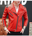 M~2XL! New 2016 Men's clothing Dj band fashion red motorcycle leather jacket outerwear slim costumes