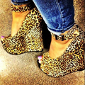 Por Encargo Del Leopardo Cuñas Peep Toe Para Las Mujeres de La Bomba De Alta tacones de Plataforma Hecha A Mano Del Tobillo Correas Hebilla Peep Toe Zapatos de Las Señoras cuñas
