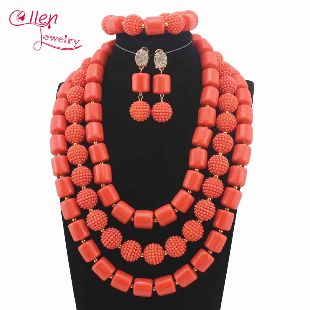 Nigerian Statement Necklace Wedding African Beads Jewelry Set Coral Jewelry Set African Costume Jewelry Sets Beads W12333 цена
