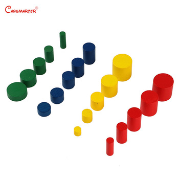 Home Mini Knobless Cylinder Montessori Wooden Colorful Teaching Educational Toys for Children House Kids Sensory Game wooden sensory toys box with sliding lid attention practice game baby boy 0 3 years home educational toy montessori