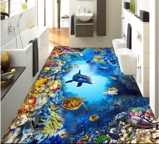 3 d pvc flooring custom The undersea world 3 d bathroom flooring paintings mural photo wallpaper for walls 3d