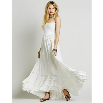 White Crinkly Maxi Dress