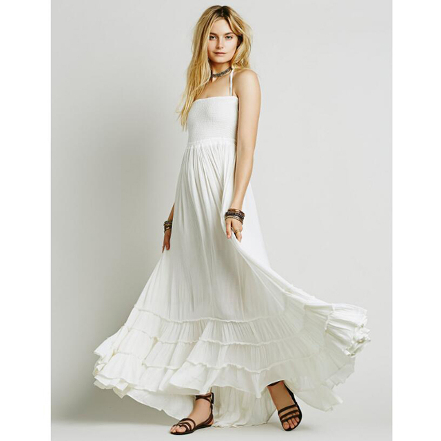Summer Crinkly Strapless Extratropical Maxi Dress Halter Neck Tie Beach Dresses Raw Seam Hem Vestidos With Low Strappy Back