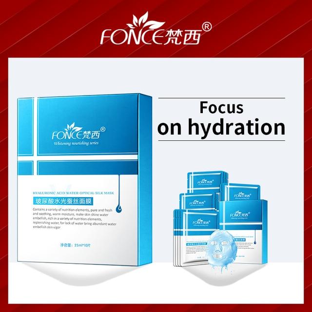Coreano 20 unid/lote ácido hialurónico hidratante seda mascarilla Facial control de aceite profundidad reposición contracción poros piel brillante cara