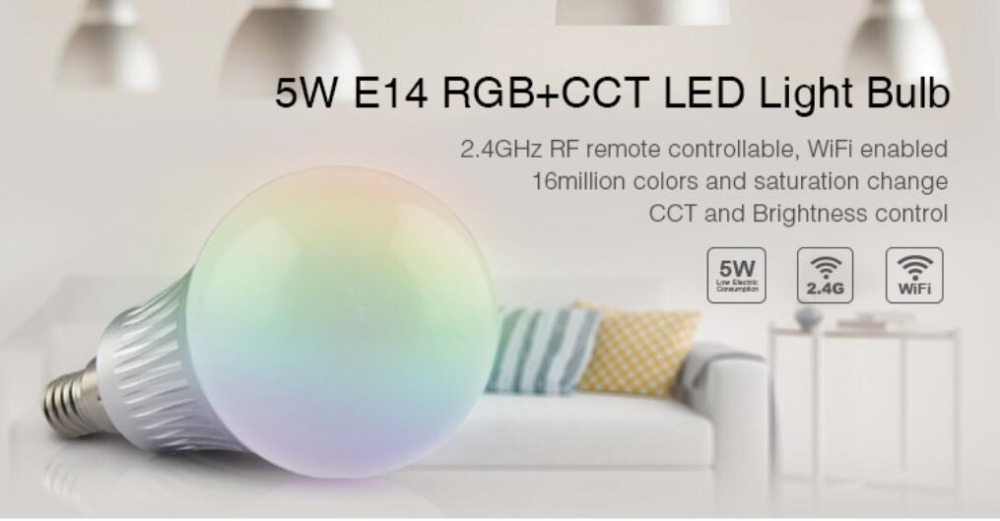 MiLight AC85V-265V 5W E14 RGB+CCT led bulb smart mobile phone WIFI 2.4G led light lamp Dimmable Lampada Lighting for home room стоимость