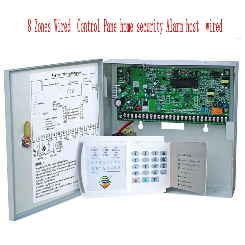 Free Shipping SAFEARMED 8 Zones Wired Control Pane home security Alarm host wired free shipping 16 zones wired and wireless alarm control pane home security alarm host wireless and wired 850 900 1800 1900mhz