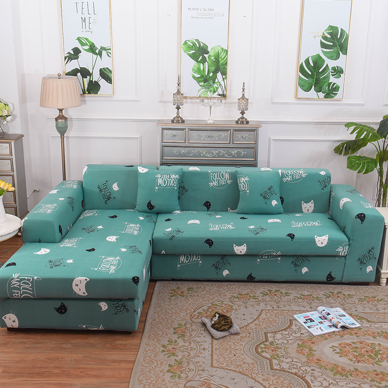 US $18.79 23% OFF|Green Cartoon Single/Double/Three/Four Seat Covers For L  Shaped Sofa Universal Stretch Elastic Corner Sofa Covers Home Decor-in Sofa  ...