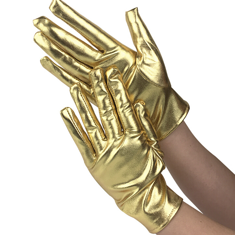 1 Pair Silver Sexy Wrist Length Latex Gloves Evening Party Stage Performance Mittens Women Wet Look Fake Leather Metallic Glove