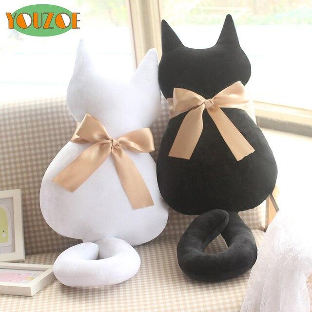 Moda de Pelúcia Animal Macio Recheado de Volta Sombra Branca Gato Almofada  Do Assento Do Sofá 077580b36dd
