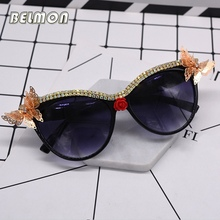 Belmon Fashion Cat Eye Sunglasses Women Brand Designer Cateye Sun Glasses For Ladies UV400 Shades Oculos de sol Female RS666