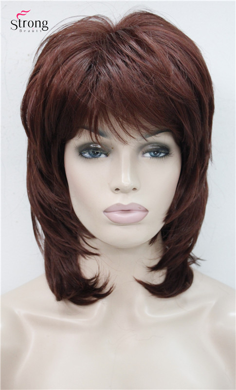короткие лохматый многоуровневая медно-красный классический полный крышка синтетический парик канекалон парики цвет выбор