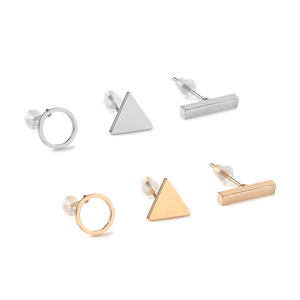 fashion Trendy jewelry accessories 3pcs/Set Women Simple Alloy Cubic round Triangl Geometric Shaped Stud Earrings Gold/Silver