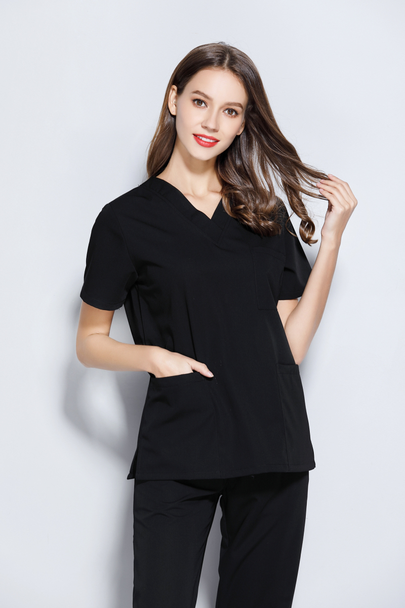 2018 Black Medical Uniform Women's Short Sleeve Round Neck &V Neck Dental Clinic Medical Scrubs Doctor Surgical Clothes