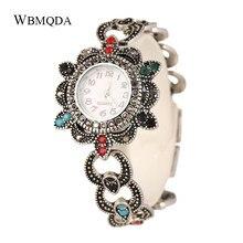 4aa3edfd6ceb Étnica Vintage plata antigua reloj de Metal pulseras y brazaletes para las  mujeres accesorios flor hembra moda Relojes Joyería