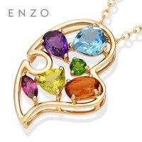 ENZO особое значение драгоценный кулон сердце естественные яркие кристалл с 14 К золото для Для женщин Fine Jewelry