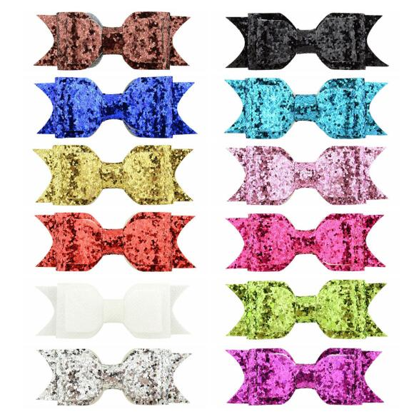 12pcs/lot Popular sequin hairpins headwear Barrettes Solid Bowknot Hair Clips childrens Party Accessories