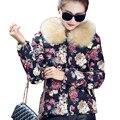 Новый дизайн женщин пальто зимнее меховой воротник женщин тонкий пальто повседневная мода печатных толстые теплые парки верхняя одежда ветровки топы