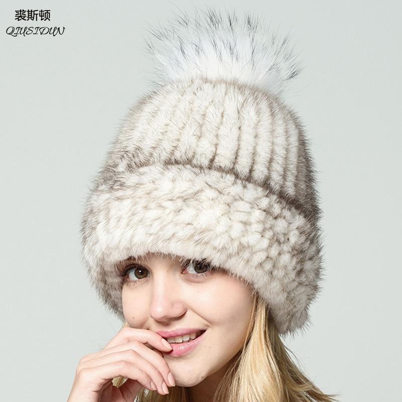 Véritable naturel vison fourrure bonnets hiver fourrure chapeaux pour femmes 2017 nouveau bonne qualité chapeau épais chaud chapeau de pompons russe fourrure casquette