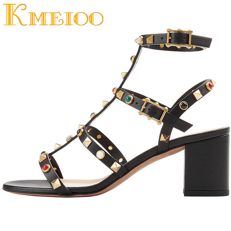 Kmeioo Ladies Sandals 2018 For Woman Rivets Studded Block Heel Gladiator Cut Out Open Toe Dress Shoes cut out neck color block tee dress