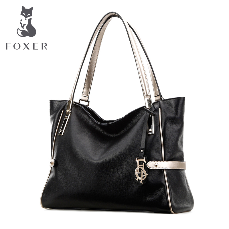 FOXER Women Handbag Genuine Soft Leather Shoulder Bags Fashion Solid Multi Color FemaleTote bag 2017 fashion women bag genuine leather alligator pattern women shoulder bag soft leather brand bag women handbag femaletote bag