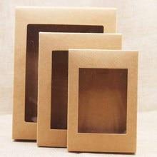 20 шт DIY бумажная коробка с окном белый/черный/крафт-бумага подарочная коробка торт упаковка для свадьбы дома вечерние упаковка для кексов