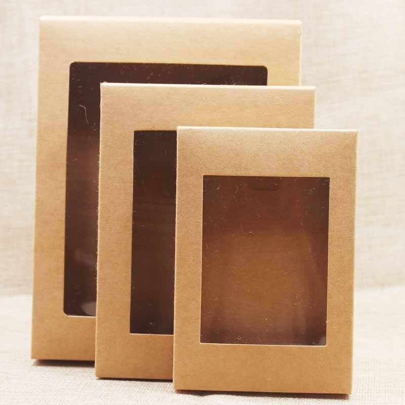 20pcs DIY paper box with window white/black/kraft paper Gift box cake Packaging For Wedding home party muffin packaging