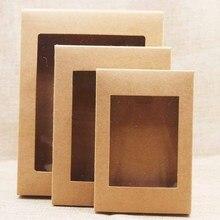 20 Pcs Diy Papier Doos Met Venster Wit/Zwart/Kraftpapier Gift Box Cake Verpakking Voor Bruiloft Thuis party Muffin Verpakking