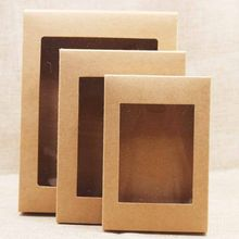 20pcs DIY paper box with window white/black/kraft paper Gift box cake Packaging For Wedding home party muffin packaging(China)