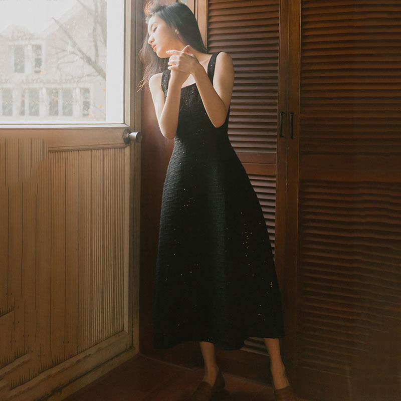 Dll1528 Carré Mode Sans Femmes Printemps Couleur Lâche mollet Col Robe Féminine Manches Solide Été Mi Bretelles Black xitao xnYaXwY