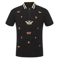 High New Novelty 2018 Men Embroidered beetle bees Fashion Polo Shirts Shirt Hip Hop Skateboard Cotton Polos Top Tee #F71