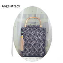 Angelatracy 2018 Black Tote Bag for Women Handmade Floral Big Bags Vintage  Bamboo Handle Handbag with 88fcf8dee4ea7